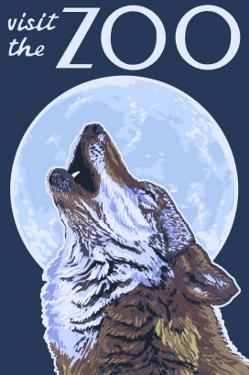 Visit the Zoo, Wolf Howling by Lantern Press
