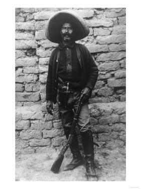 Volunteer Mexican Soldier with Rifle Photograph - Mexico by Lantern Press