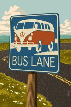"""VW Van """"Bus Lane"""" Sign by Lantern Press"""