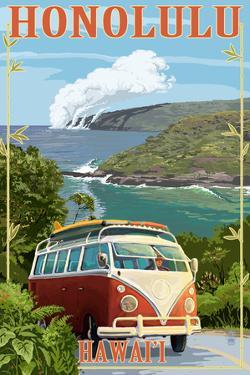 VW Van Coastal - Honolulu, Hawaii by Lantern Press