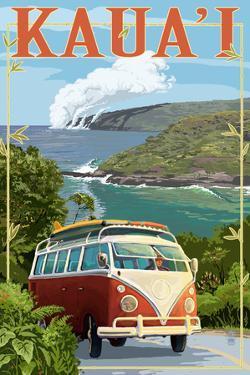 VW Van Coastal - Kauai, Hawaii by Lantern Press