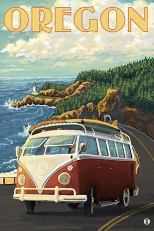 VW Van Cruising the Oregon by Lantern Press