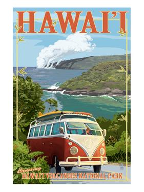 VW Van - Hawaii Volcanoes National Park by Lantern Press