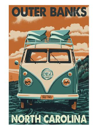 VW Van - Outer Banks, North Carolina by Lantern Press