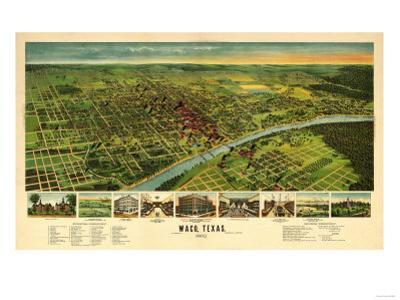 Waco, Texas - Panoramic Map by Lantern Press