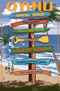 Waikiki Beach, Hawaii - Signpost Destinations by Lantern Press