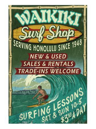 Waikiki Beach, Hawaii - Surf Shop by Lantern Press