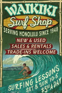 Waikiki Beach, Hawaii - Surf Shop by Lantern Press