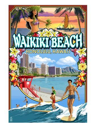 Waikiki Beach, Oahu, Hawaii - Scenes by Lantern Press