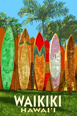 Waikiki, Hawai'i - Surfboard Fence by Lantern Press