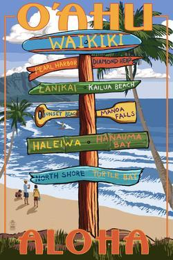 Waikiki, Oahu, Hawaii - Aloha - Sign Destinations by Lantern Press