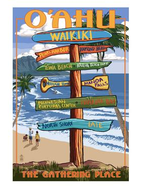 Waikiki, Oahu, Hawaii - Sign Destinations by Lantern Press