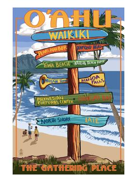 Waikiki, Oahu, Hawaii - Sign Destinations by Lantern Press