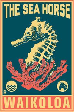 Waikoloa, Hawaii - Seahorse Woodblock (Blue and Pink) by Lantern Press