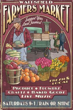Waitsfield, Vermont - Farmers Market Vintage Sign by Lantern Press