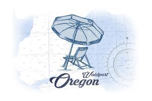 Waldport, Oregon - Beach Chair and Umbrella - Blue - Coastal Icon by Lantern Press