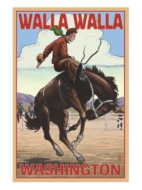 Walla Walla, Washington - Bronco Bucking by Lantern Press