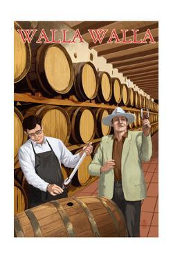 Walla Walla, Washington - Wine Barrels by Lantern Press