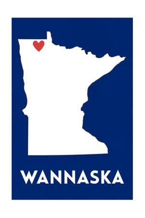 Wannaska, Minnesota - Home State - White on Blue by Lantern Press