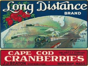 Wareham, Massachusetts, Long Distance Brand Cape Cod Cranberry Label by Lantern Press