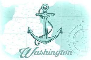 Washington - Anchor - Teal - Coastal Icon by Lantern Press