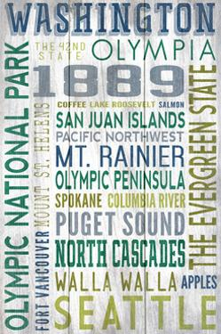 Washington - Barnwood Typography by Lantern Press