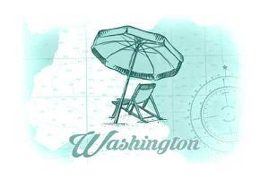 Washington - Beach Chair and Umbrella - Teal - Coastal Icon by Lantern Press