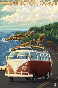 Washington Coast Drive with Lighthouse by Lantern Press