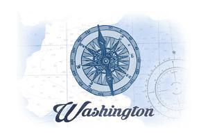 Washington - Compass - Blue - Coastal Icon by Lantern Press