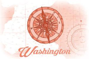 Washington - Compass - Coral - Coastal Icon by Lantern Press