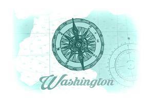 Washington - Compass - Teal - Coastal Icon by Lantern Press