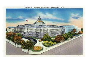 Washington, DC, Exterior View of the Library of Congress and Annex by Lantern Press
