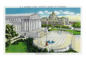 Washington DC, Exterior Views of the US Supreme Court House and Library of Congress by Lantern Press