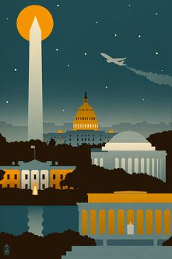 Washington, DC - Retro Skyline (no text) by Lantern Press