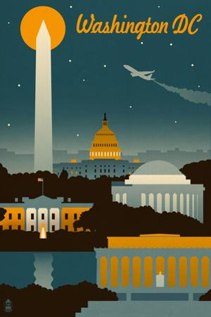 Washington, DC - Retro Skyline by Lantern Press