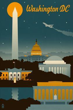 Washington, DC - Retro Skyline by Lantern Press
