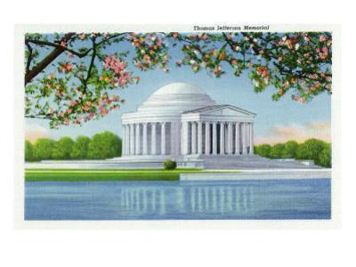 Washington, DC, View of the Thomas Jefferson Memorial, Cherry Trees by Lantern Press