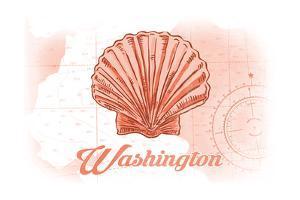 Washington - Scallop Shell - Coral - Coastal Icon by Lantern Press