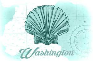 Washington - Scallop Shell - Teal - Coastal Icon by Lantern Press