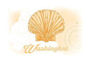 Washington - Scallop Shell - Yellow - Coastal Icon by Lantern Press