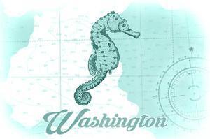 Washington - Seahorse - Teal - Coastal Icon by Lantern Press
