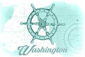Washington - Ship Wheel - Teal - Coastal Icon by Lantern Press