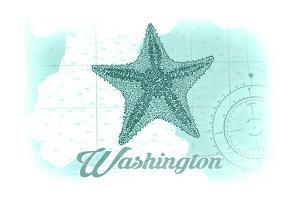 Washington - Starfish - Teal - Coastal Icon by Lantern Press