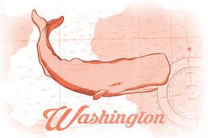 Washington - Whale - Coral - Coastal Icon by Lantern Press