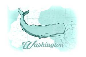Washington - Whale - Teal - Coastal Icon by Lantern Press