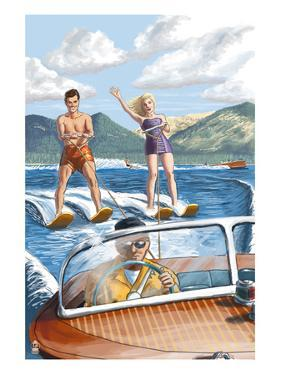 Water Skiing and Wooden Boat by Lantern Press