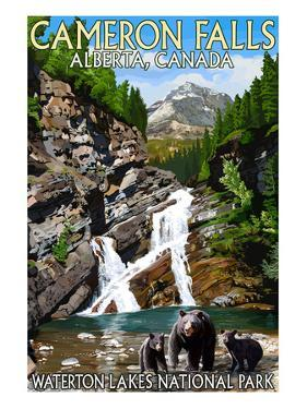 Waterton Lakes National Park, Canada - Cameron Falls and Bear Family by Lantern Press