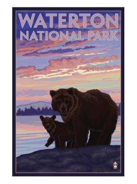 Waterton National Park, Canada - Bear & Cub by Lantern Press