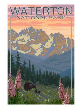 Waterton National Park, Canada - Bears and Spring Flowers by Lantern Press