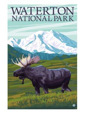 Waterton National Park, Canada - Moose and Mountain by Lantern Press